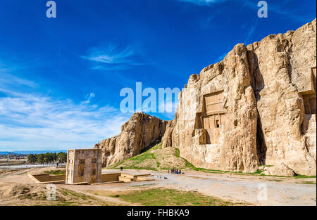 Ancient tombs of Achaemenid kings at Naqsh-e Rustam in Iran - Stock Photo