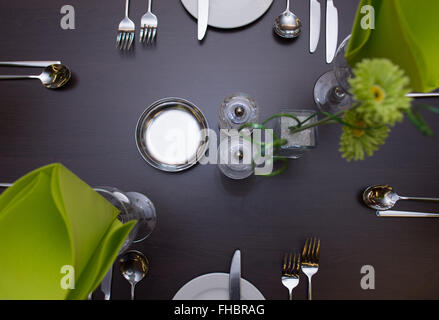 dining table set up in local restaurant - Stock Photo