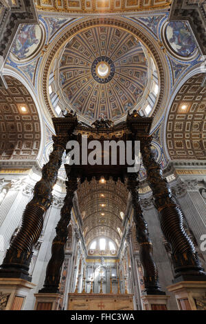 The altar and the baldachin of the St. Peters Basilica in Rome, Vatican - Stock Photo