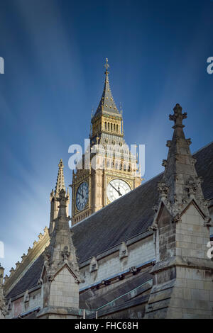 UK, London, view to Big Ben behind a roof of Palace of Westminster - Stock Photo