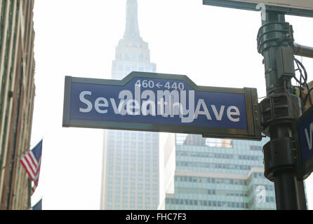 Seventh avenue sign in New York City - Stock Photo