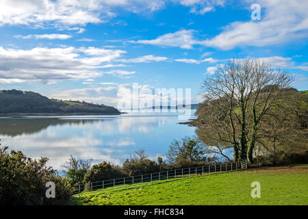 A view of the Carrick Roads on the river Fal in Cornwall, UK - Stock Photo