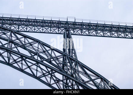 Pylon truss portion of steel gray railway arch bridge. - Stock Photo