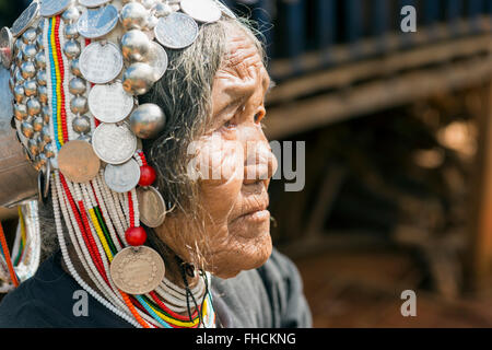 Akha woman in traditional dress. Kengtung, Burma - Stock Photo