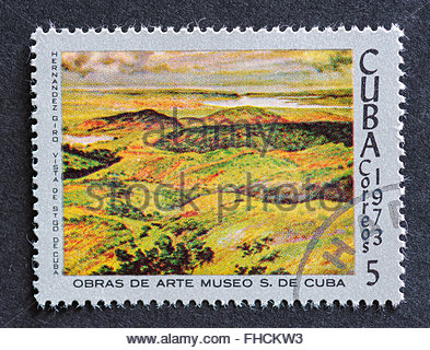 Postage stamp used for mail, a series of stamps developed in 1973 depicting works of arts from Cuba's most famous - Stock Photo