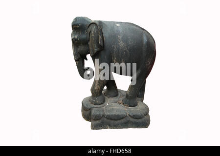 Wooden Elephant Isolated on White Background - Stock Photo