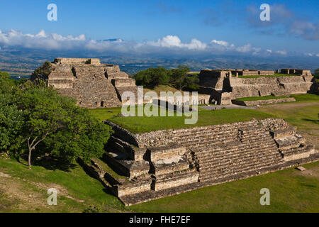 SYSTEM M or BUILDING OF THE DANCERS (Edificio de los Danzantes) of the GRAND PLAZA at MONTE ALBAN which dates back - Stock Photo
