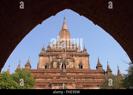 Sulamani, old Buddhist temples and pagodas in Bagan, Myanmar - Stock Photo