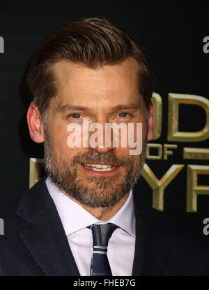 New York, USA. 24th Feb, 2016. Actor NIKOLAJ COSTER-WALDAU attends the New York premiere of 'Gods of Egypt' held - Stock Photo