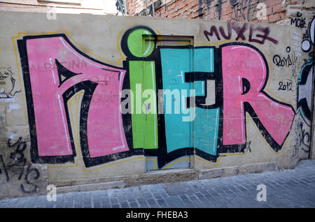 graffiti covered walls in Barrio del Carmen, Valencia Spain - Stock Photo