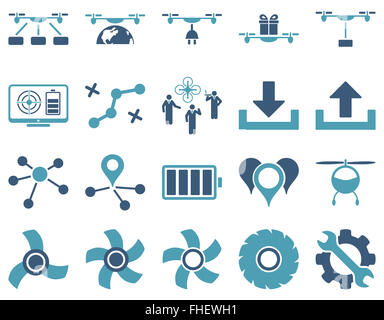 Air drone and quadcopter tool icons - Stock Photo