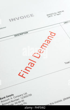 Overdue Invoice with final demand notification in red Note: account number and codes are fake - Stock Photo