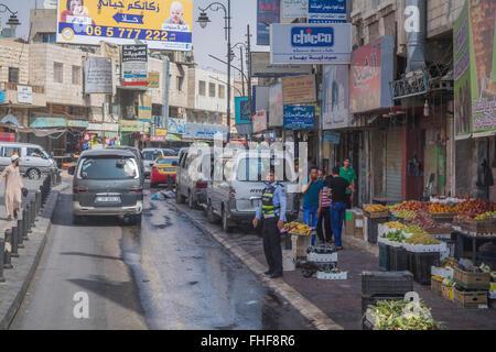 A street view in the village of Kerak, Hashemite Kingdom of Jordan, Middle East. - Stock Photo