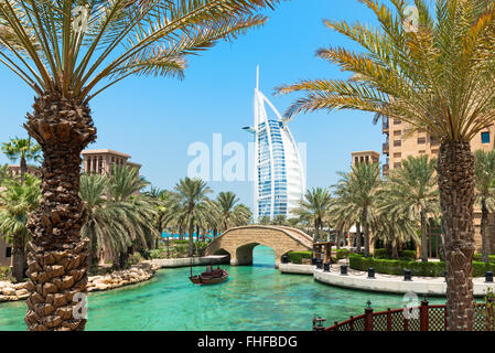 A general view of the world's first seven stars luxury hotel Burj Al Arab 'Tower of the Arabs', Madinat Jumeirah - Stock Photo