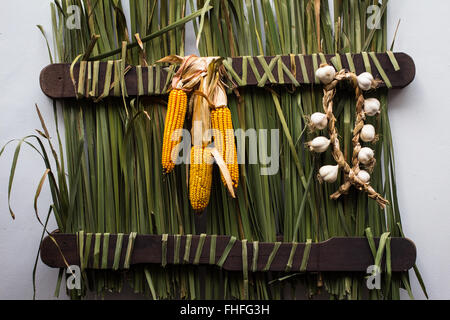 Garlic cloves and corn cobs in a nice rustic arrangement - Stock Photo