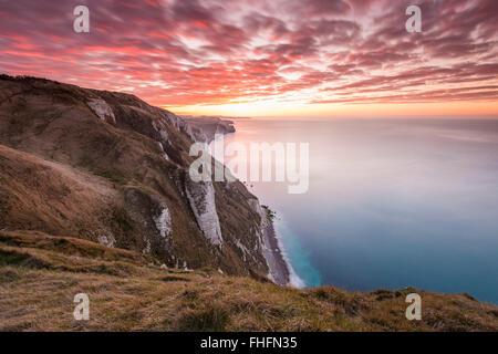 White Nothe, Dorset, UK. 25th February, 2016. UK Weather: View along Dorset's Jurassic Coast looking towards Lulworth - Stock Photo