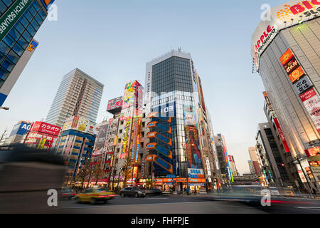 Tokyo, Japan -January 8, 2016: Cityscape of Akihabara district in Tokyo. - Stock Photo