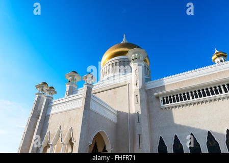 Masjid Sultan Omar Ali Saifuddin Mosque and royal barge in BSB,Bandar Seri Begawan,Brunei - Stock Photo