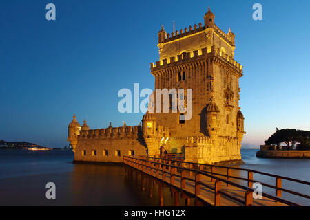 Belem Tower in Lisbon night scene.  Portugal - Stock Photo