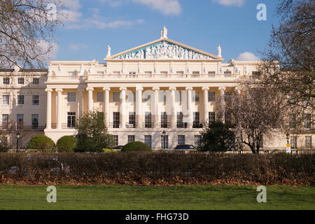 Exterior view of Cumberland Terrace designed by John Nash in winter London - Stock Photo