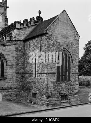 Looking WNW at Anglo-Saxon chancel & crypt of St Wystan's Church, Repton, Derbyshire: crypt was used as a mausoleum - Stock Photo