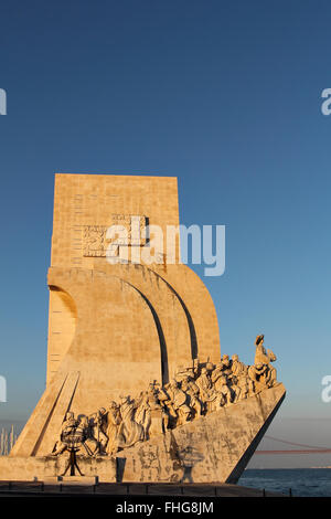 Monument to the Discoveries and Tagus river in Lisbon , Portugal - Stock Photo