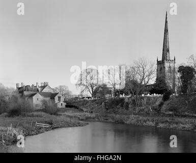 St Wystan's Church, Repton, Derbyshire, looking ESE at old course & S bank of River Trent: the great Viking army - Stock Photo