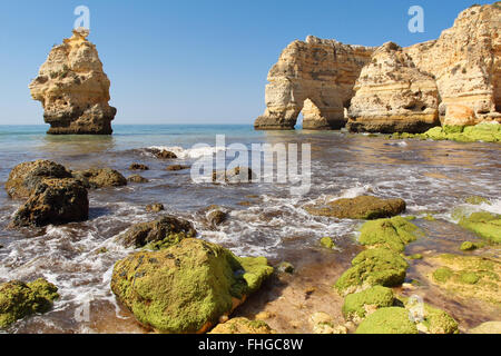 Beautiful Praia da marinha in Algarve . South Portugal - Stock Photo