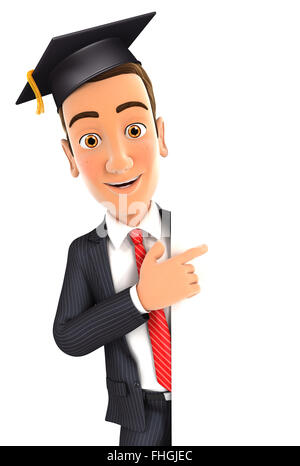 3d businessman with mortarboard pointing to right blank wall, isolated white background - Stock Photo