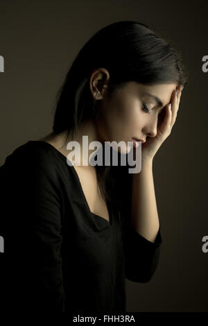 Sadness concept – depressed teen girl - Stock Photo