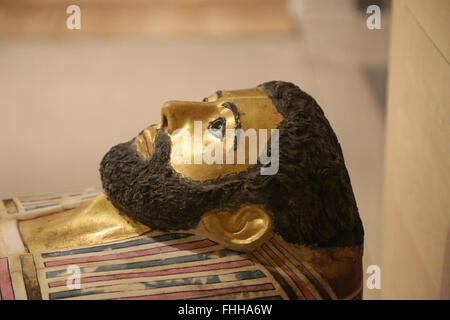 Eastern provinces Roman Empire. Necropolis of Hermopolis, Middle Egypt. Mummy mask of a man.2nd century AD. Louvre - Stock Photo