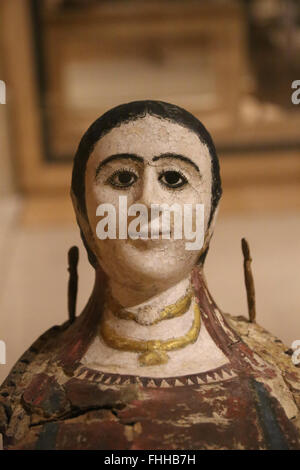 Eastern provinces Roman Empire. Necropolis of Hermopolis, Middle Egypt. Mummy mask of a woman. 3nd century.  Louvre - Stock Photo