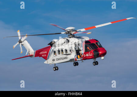 HM Coastguard Rescue Helicopter G-MCGJ on exercise in Cardigan Bay off Pwllheli Gwynedd © Alan Dop Alamy Live News - Stock Photo