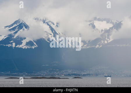 Ushuaia in the fog. Ushuaia the most southerly city in the world. - Stock Photo
