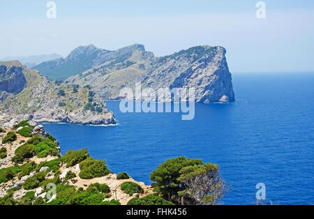 Mallorca, Majorca, Balearic Islands, Spain, Europe: view of Cap de Formentor, the eastern cape of the island seen - Stock Photo