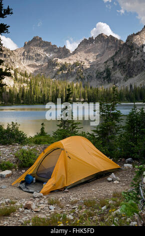 ID00432-00...IDAHO - Campsite at Alice Lake in the Sawtooth Wilderness Area. - Stock Photo