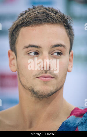 Tom Daley of Great Britain during the FINA/NVC Diving World Series in London on April, 27, 2014. - Stock Photo