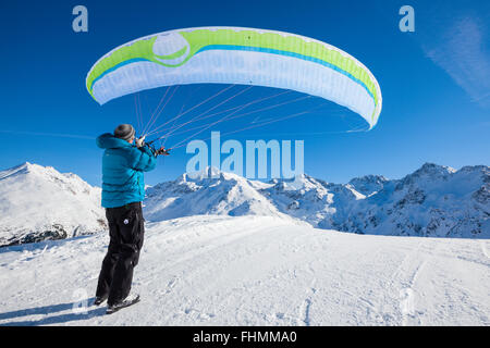 Groundhandling with the Paraglider, Sulden Skiing Area, South Tyrol, Italy - Stock Photo