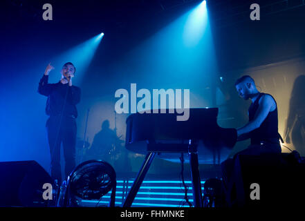 Prague, Czech Republic. 25th Feb, 2016. Singer Theo Hutchcraft (left) and pianist and guitar player Adam Anderson - Stock Photo