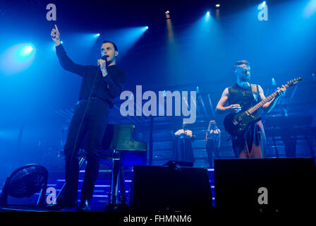 Singer Theo Hutchcraft (left) and pianist and guitar player Adam Anderson (right) from British synthpop duo Hurts - Stock Photo