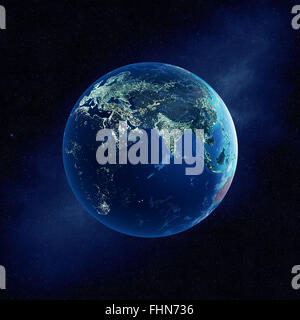 Earth with city lights at night in outer space with Europe and Asia  (Elements of this  3D rendered image furnished - Stock Photo