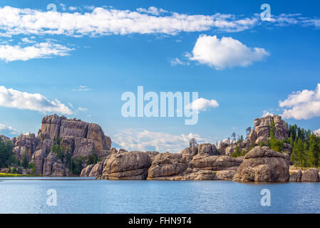 Beautiful rock formations at Sylvan Lake in Custer State Park - Stock Photo
