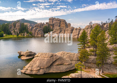 View of Sylvan Lake in Custer State Park - Stock Photo
