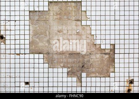 bathroom wall tiles texture of old demolished house stock photo