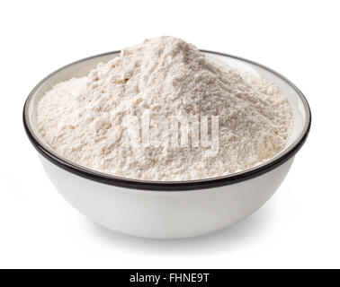 Bowl of white flour isolated on white background - Stock Photo