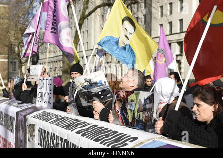 Kurdish people protest outside the Downing Street, London, UK. 10th February, 2016. - Stock Photo