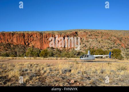 Robinson R44 Scenic Flight, Glen Helen Gorge, Northern Territory, Australia - Stock Photo