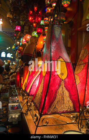 Traditional oriental skin lamps in Istanbul  Grand Bazar - Stock Photo