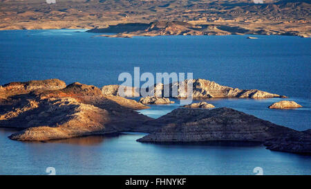 An aerial view of Lake Mead and islands - Stock Photo