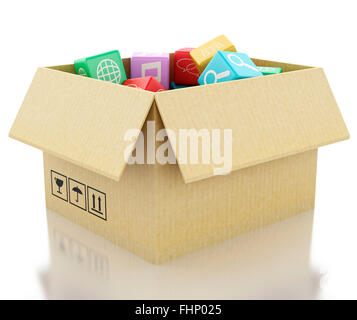 3d renderer image. Mobile applications software in cardboard box. Isolated white background - Stock Photo
